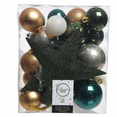 Kerstballen set dennen groen/goud/wit kunststof 33 stuks
