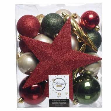 Kerstballen set groen/goud/rood kunststof 33 stuks