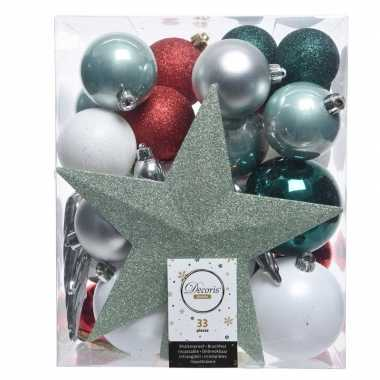 Kerstballen set groen/zilver/wit kunststof 33 stuks