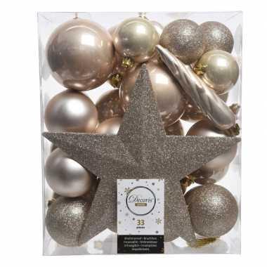 Kerstballen set in het champagne kunststof 33 stuks