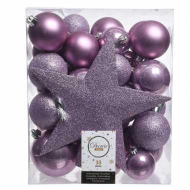 Kerstballen set in het lila paars kunststof 33 stuks