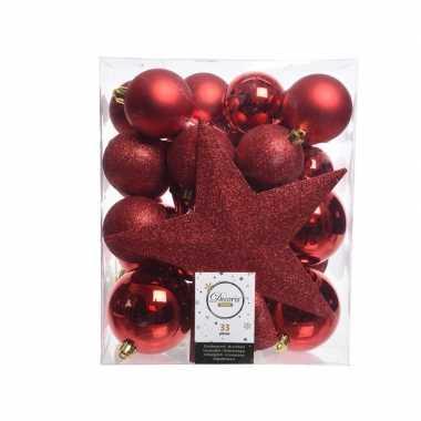 Kerstballen set in het rood kunststof 33 stuks