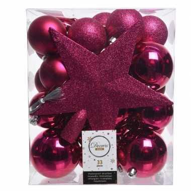 Kerstballen set in het roze kunststof 33 stuks