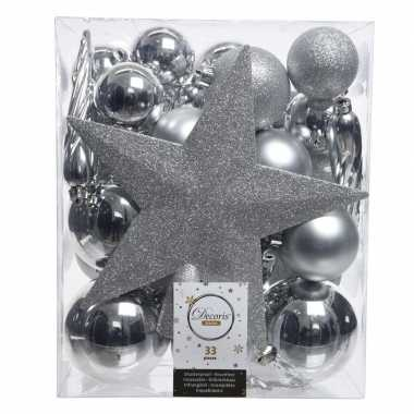 Kerstballen set in het zilver kunststof 33 stuks