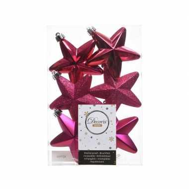 Kerstballen sterren fuchsia roze 6 stuks
