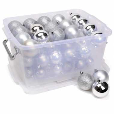 Kerstballen zilver in box kerstboom decoratie 70 stuks