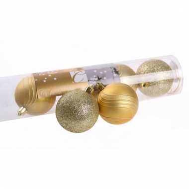 Kerstballenset goud 2 soorten 6 cm