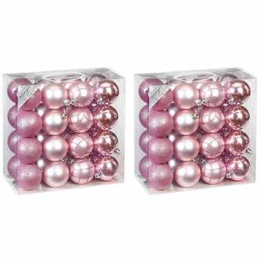 Kerstballenset mix roze 64-delig 7 cm