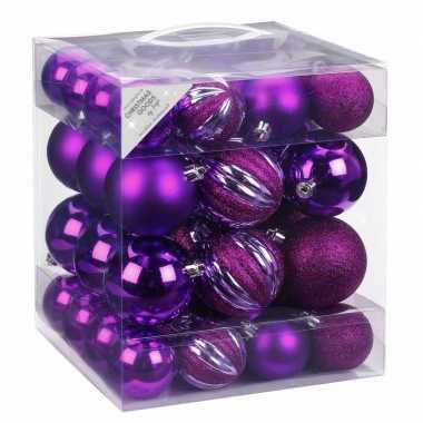 Kerstballenset paars 50-delig