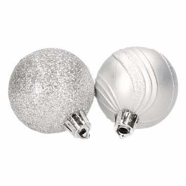 Kerstballenset zilver 2 soorten