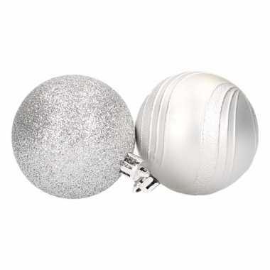 Kerstballenset zilver 2 soorten 6 cm