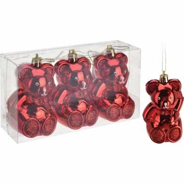 Kerstboom decoratie beer kerstballen rood 5 cm