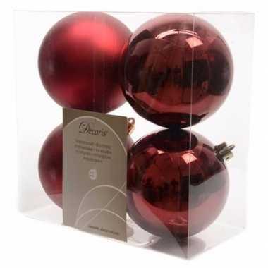 Kerstboom decoratie kerstballen 10 cm mix donker rood 8 stuks