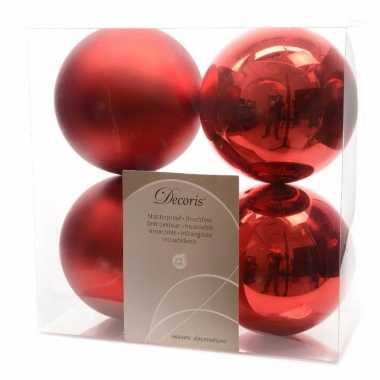 Kerstboom decoratie kerstballen mix 10 cm rood 8 stuks