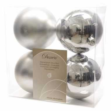Kerstboom decoratie kerstballen mix 10 cm zilver 8 stuks
