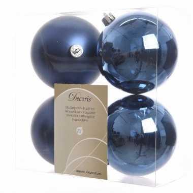 Kerstboom decoratie kerstballen mix blauw 8 stuks