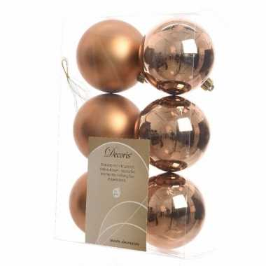 Kerstboom decoratie kerstballen mix brons 12 stuks