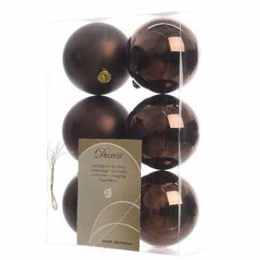 Kerstboom decoratie kerstballen mix bruin 12 stuks