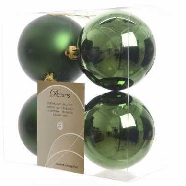 Kerstboom decoratie kerstballen mix groen 8 stuks