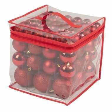 Kerstboom decoratie kerstballen rood 77 stuks 4 / 6 / 8 cm