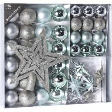 Kerstboomversiering kerstballen set zilver/ijsblauw 45 delig