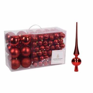 Kerstboomversiering pakket rode kunststof kerstballen en piek