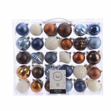 Kerstdecoratie set kerstballen blauw/ koper/ bruin en wit 60 delig
