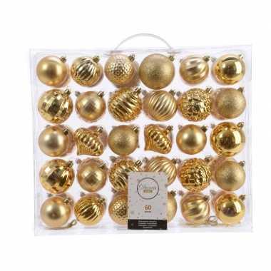 Kerstdecoratie set kerstballen goud 60 delig