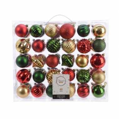 Kerstdecoratie set kerstballen groen/ goud/ rood 60 delig