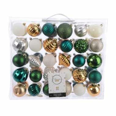 Kerstdecoratie set kerstballen groen/ goud/ zilver/ wit 60 delig