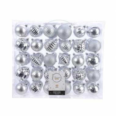 Kerstdecoratie set kerstballen zilver 60 delig