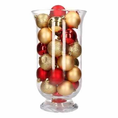 Kerstdecoratie vaas met goud/rode kerstballen