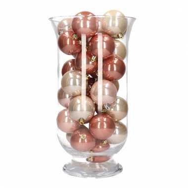 Kerstdecoratie vaas met roze mix kerstballen