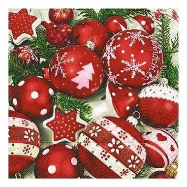 Kerstdiner servetten met kerstballen 20 stuks