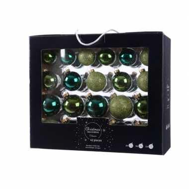 Kerstmis kerstballen mix groen glas 42 delig