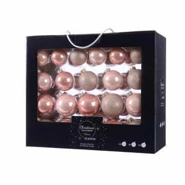Kerstmis kerstballen mix roze glas 42 delig