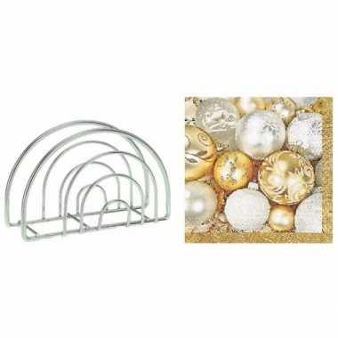 Kerstmis tafelversiering houder met kerstballen servetten 10099215