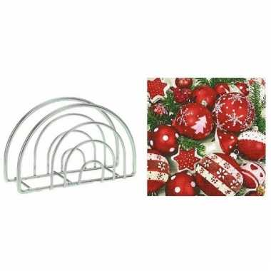 Kerstmis tafelversiering houder met kerstballen servetten 10099219