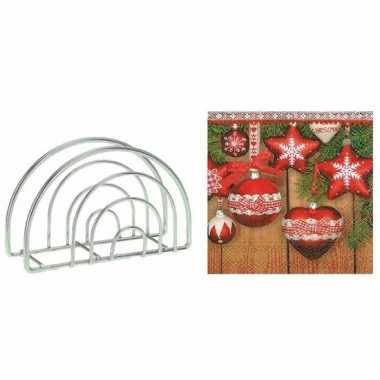 Kerstmis tafelversiering houder met kerstballen servetten