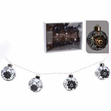 Kerstverlichting kerstballen zwart slinger met led