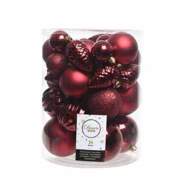 Kerstversiering kerstballen donker rood 34 stuks