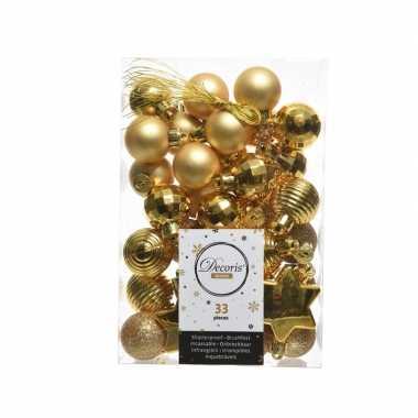 Kerstversiering kerstballen goud 33 stuks