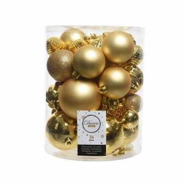 Kerstversiering kerstballen goud 34 stuks