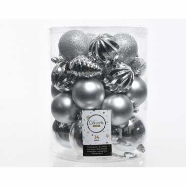 Kerstversiering kerstballen zilver 34 stuks