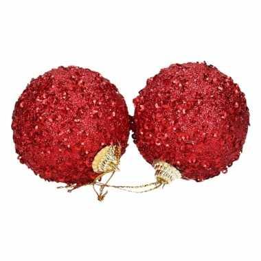 Kerstversiering rode kerstballen