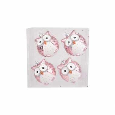 Kerstversiering uilen kerstballen roze 7 cm