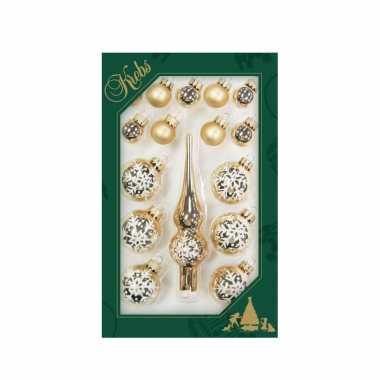 Luxe gouden glazen kerstballen en piek set voor mini kerstboom 16-dlg