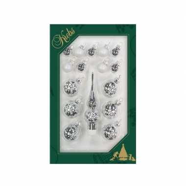 Luxe zilveren glazen kerstballen en piek set voor mini kerstboom 16-dlg