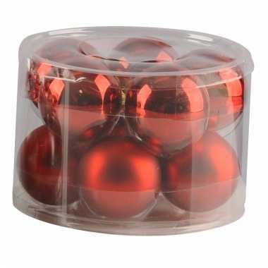 Mat en glans kerstballen rood 10 stuks