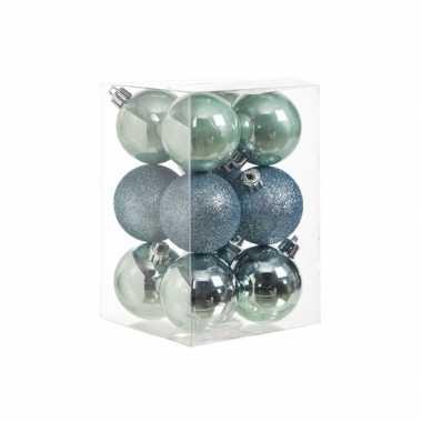 Mintgroene kerstversiering kerstballen 12x